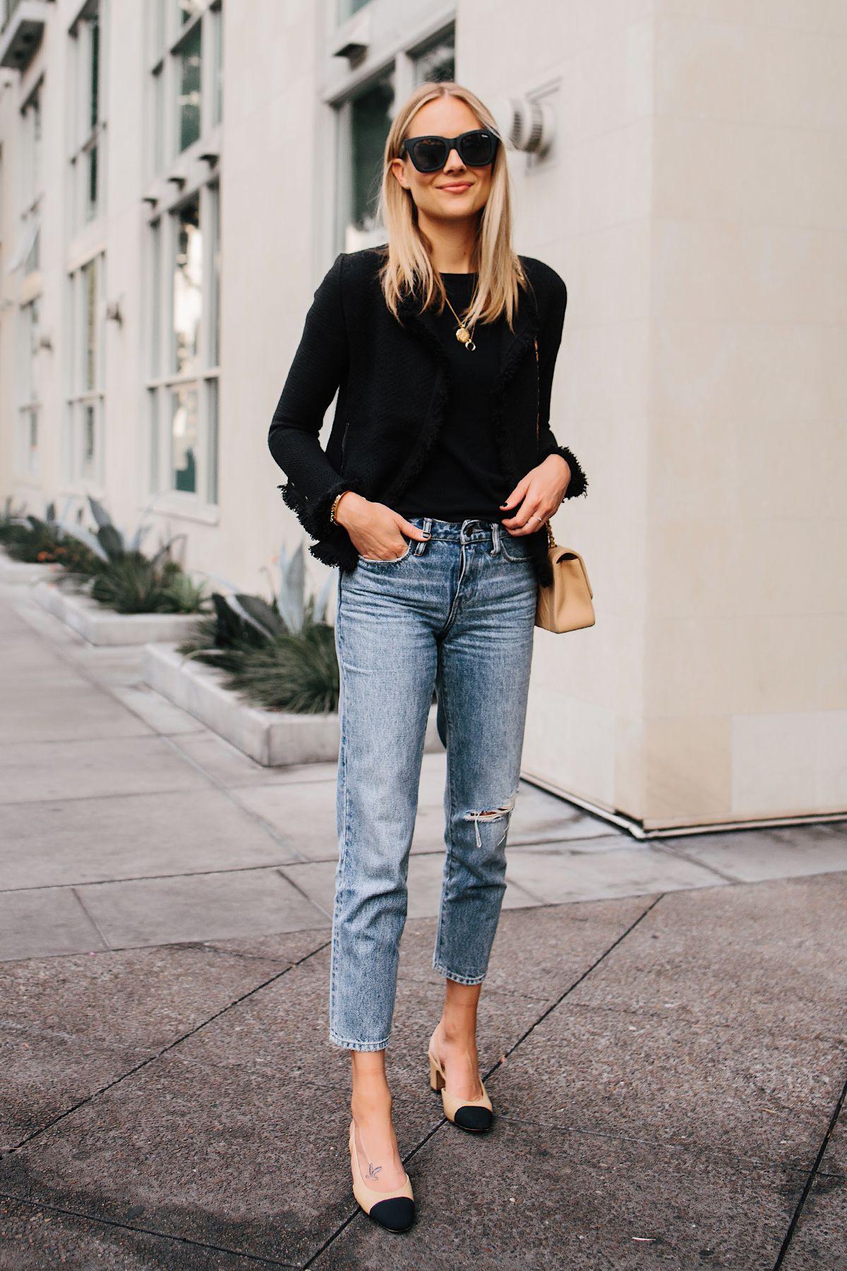 ea63096133 Blonde Woman Wearing Black Tweed Relaxed Jacket Jeans Outfit Chanel Tan  Diana Handbag Chanel Slingback Shoes Fashion Jackson San Diego Fashion  Blogger ...