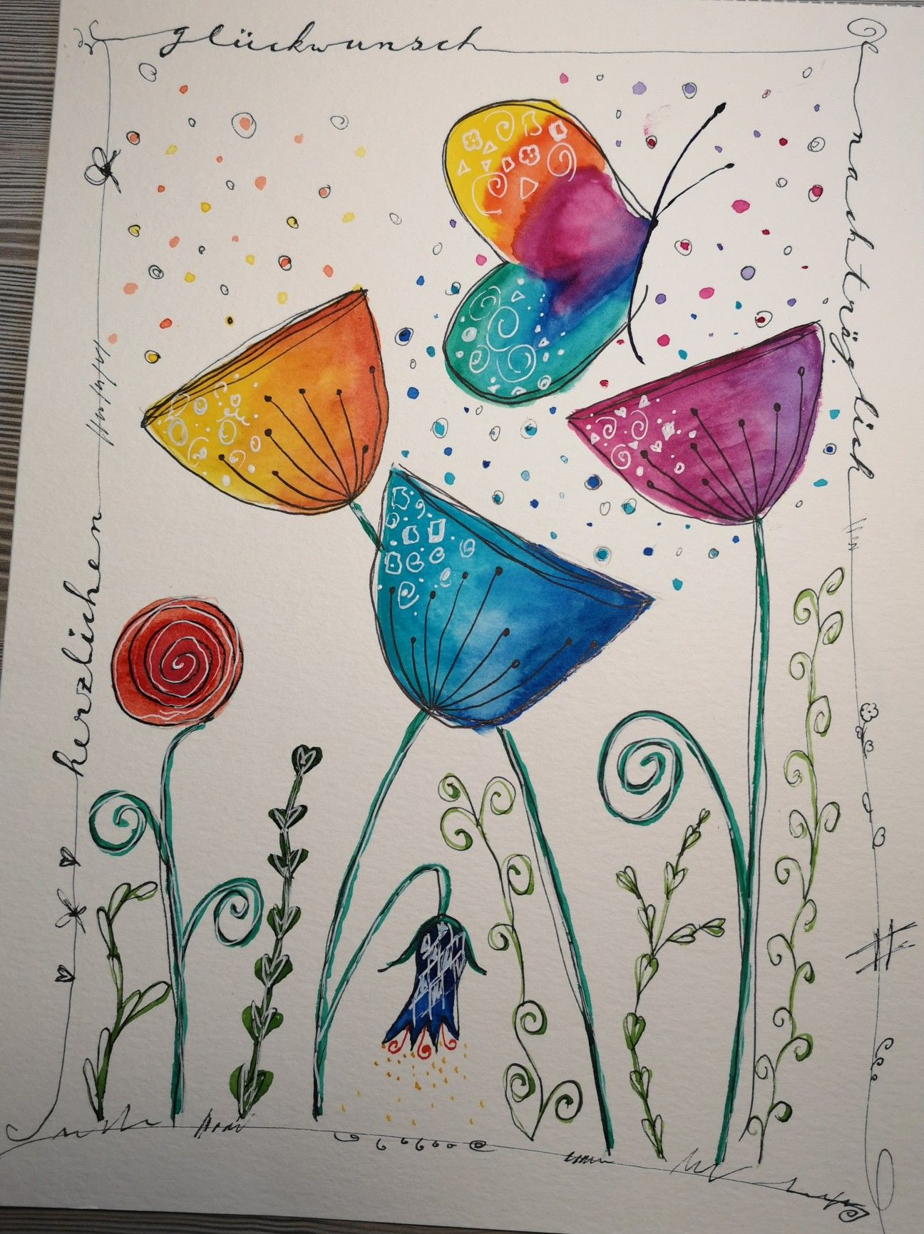 Happypainting Aquarell Watercolor Flowers Happybirthday