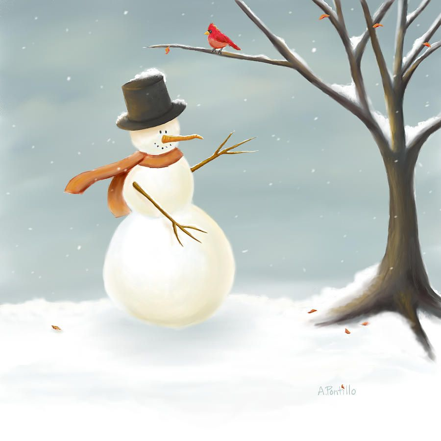 Christmas snowman painting by Andrea Pontillo