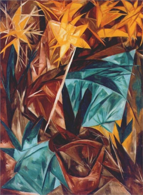 Rayonist lilies, 1913 -Natalia Goncharova - by style - Rayonism,  Russian avant-garde art, abstract art in Russia, лучизм, русский авангард, искусство 20 века, абстрактное искусство, Наталья Гончарова