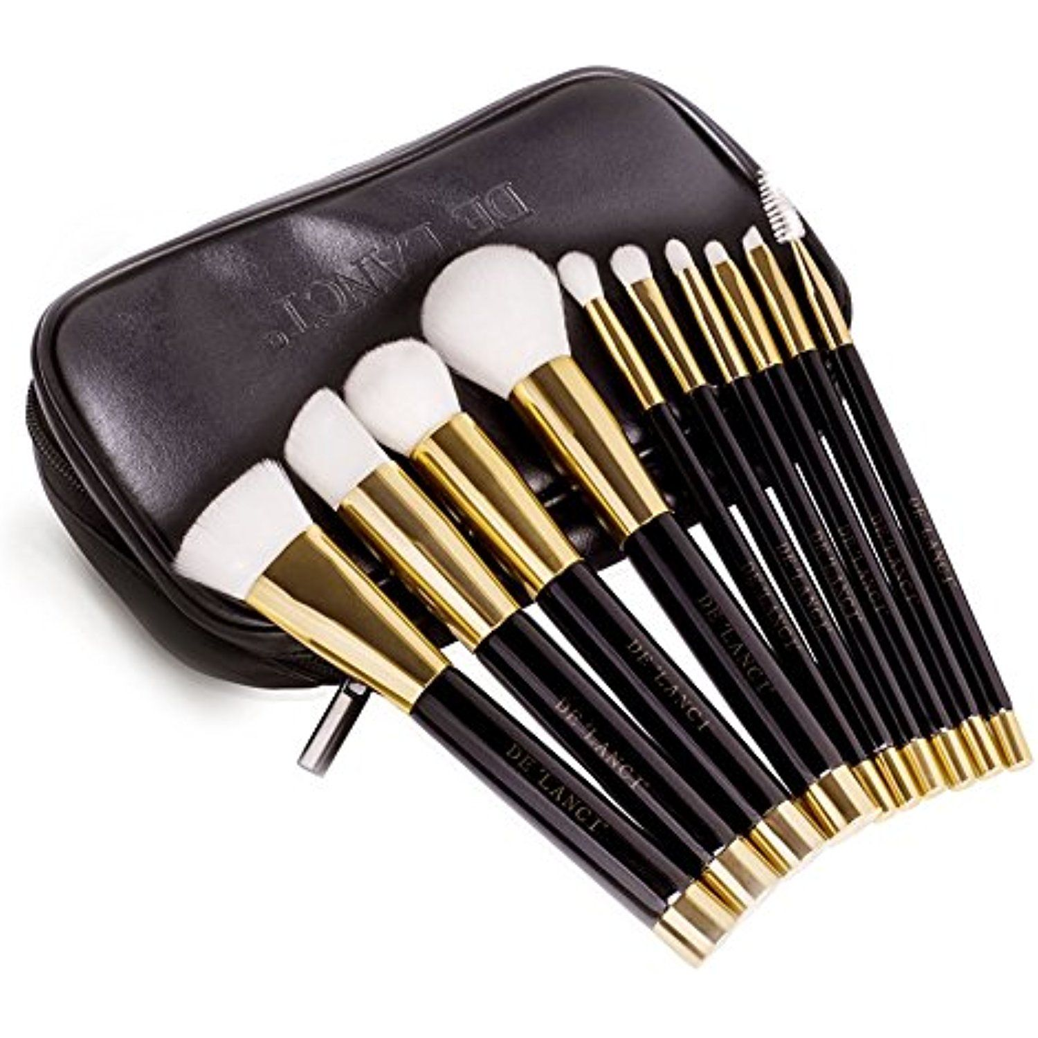 DE'LANCI Synthetic Contour Makeup Brush Kit with Leather