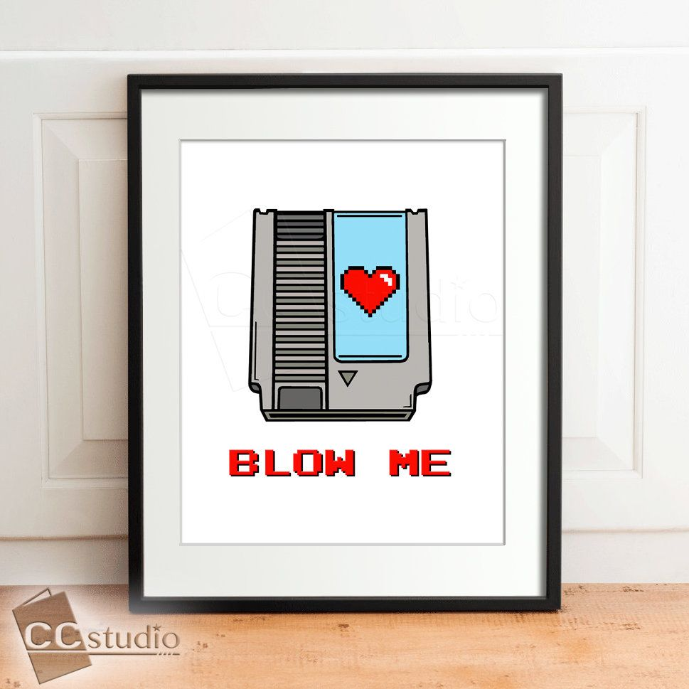 Blow Me, Video Game Decor, Gamer Room Decor, Gaming Decor, Nerdy Birthday Gift, Retro Game Art, Video Game Print