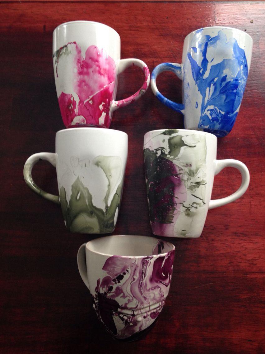 Watercolor Mugs Made With Nail Polish Nail Polish Crafts