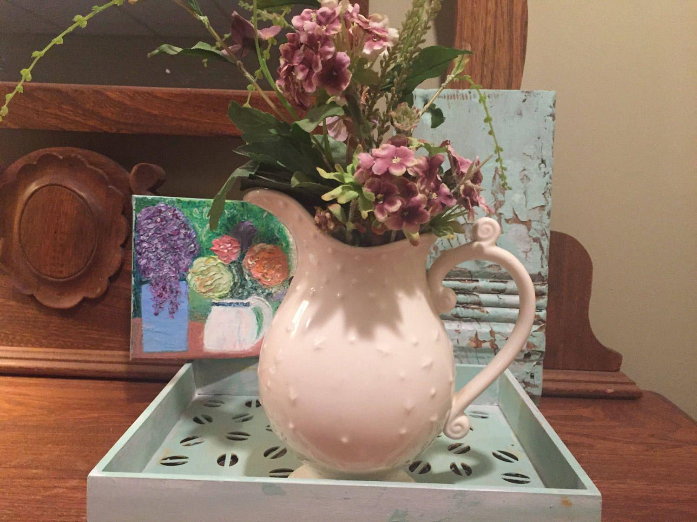 Original oil painting, flowers, beautiful vase, aqua tray, rustic vintage block by VignetteWonders on Etsy