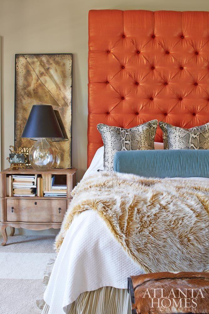 A Custom Orange Headboard Adds Striking Splash Of Color In The Mostly Neutral Master Bedroom Http Atlantah Colors Simple