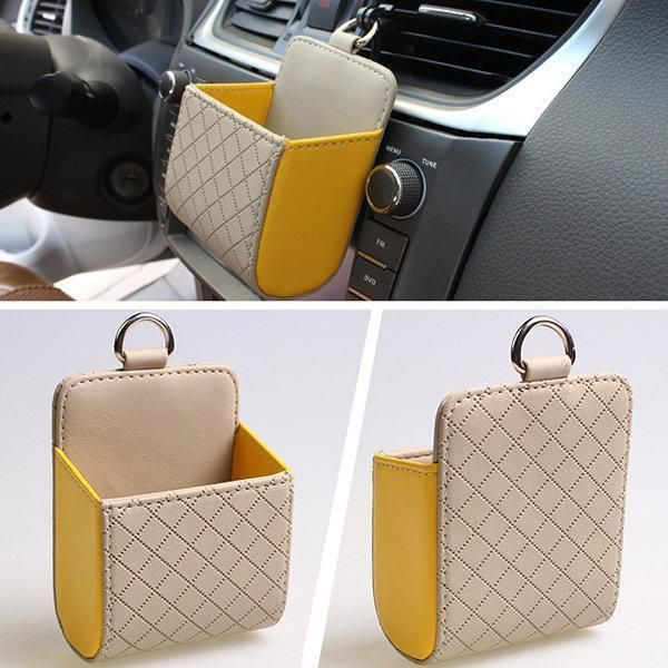 Faux Leather Color Multi Functional Car Debris Holder Phone Bag
