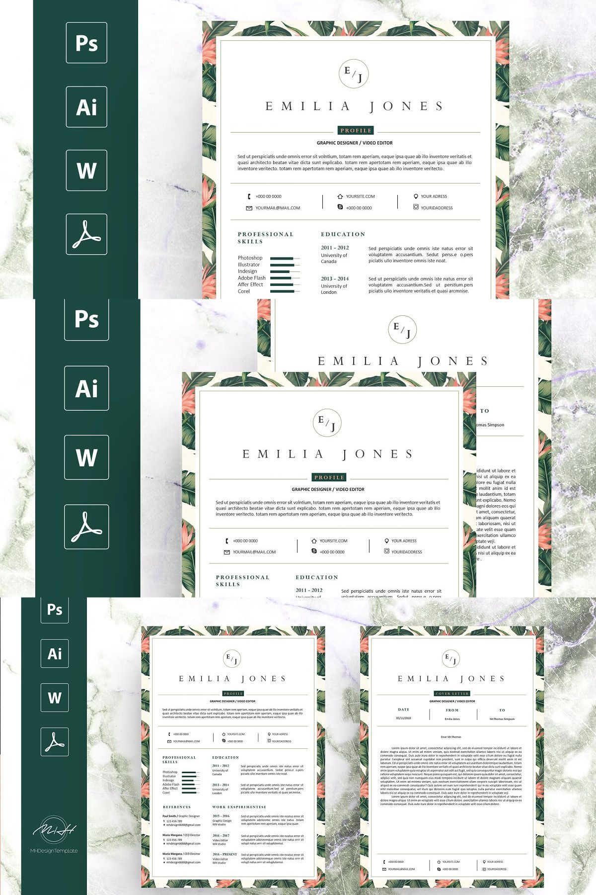 Leaf Floral Resume Template in 2020 Resume template