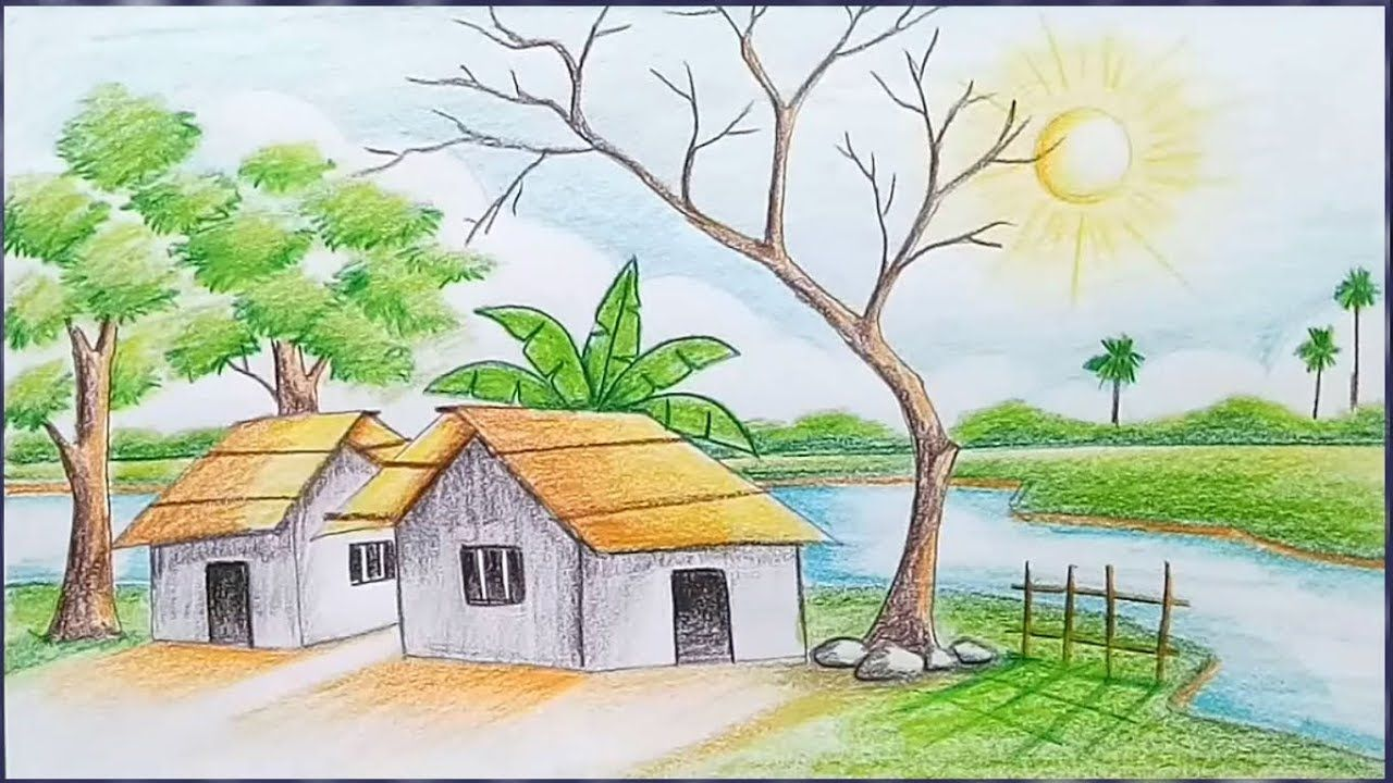 How To Draw Scenery Of Light And Shadow By Color Pencil Youtube Nature Drawing Pictures Landscape Drawings Landscape Drawing Easy