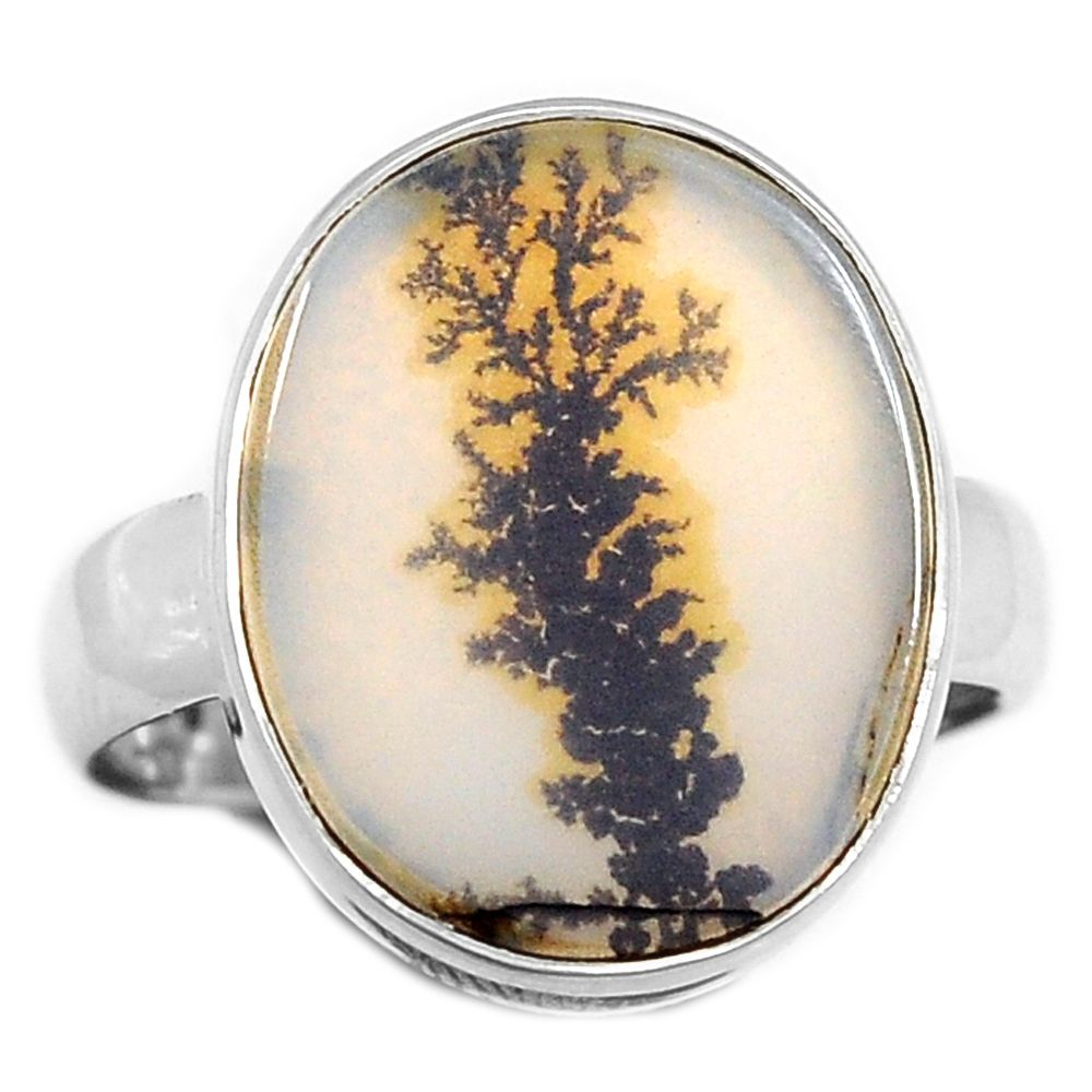 Scenic Dendritic Agate 925 Sterling Silver Ring Jewelry s.7 SDAR403 - JJDesignerJewelry
