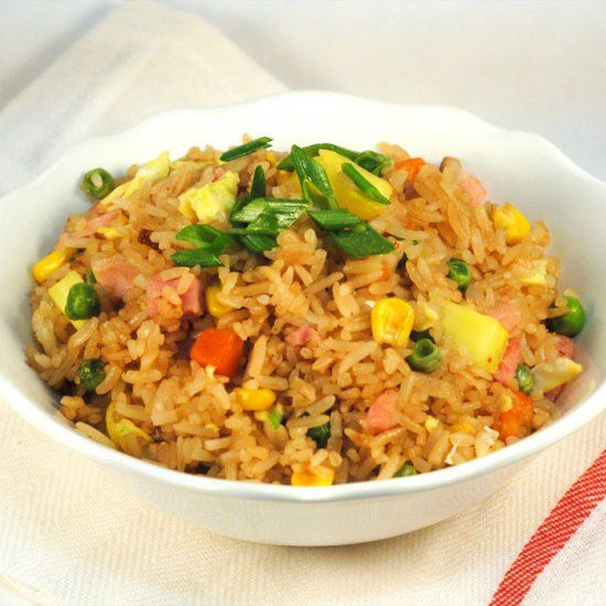 Fried rice with sweet, warm pineapples and salty, savory ham. A fusion of Hawaiian and Chinese flavors.