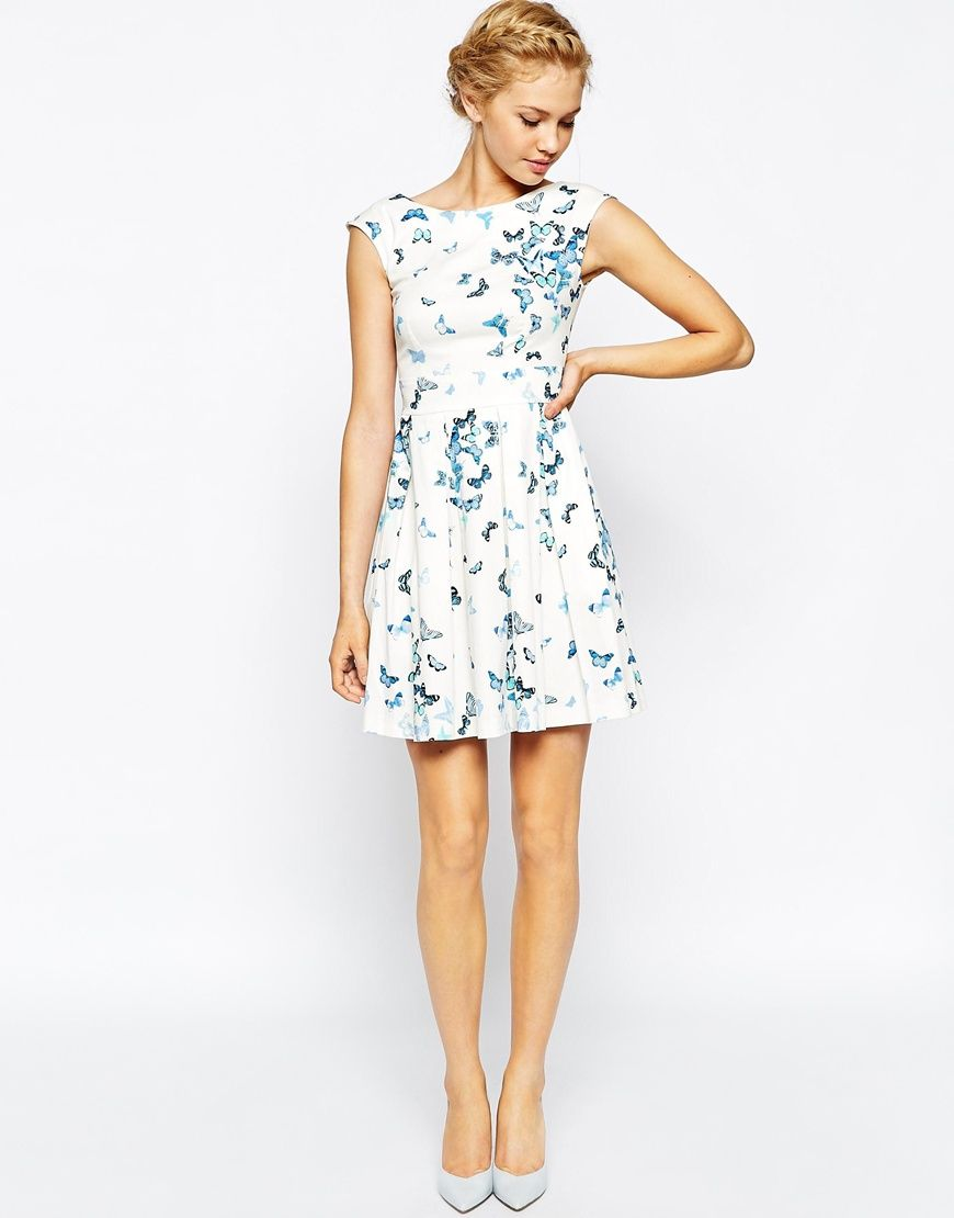 Simple dress for civil wedding  Image  of Closet Pleated Skater Dress In Butterfly Print  Dress