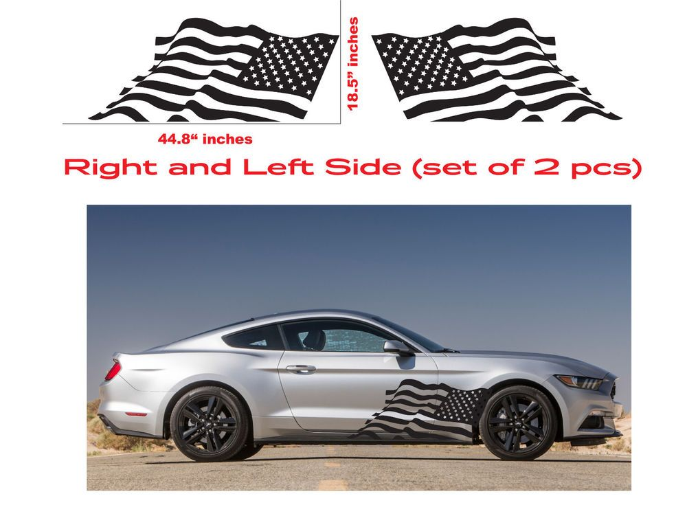 2pcs for Ford Mustang Rocker Panel Door Side Stripes Decals Shelby GT Graphics