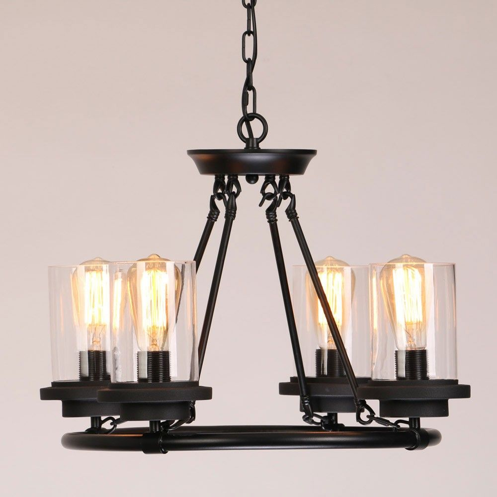 This industrial clear glass shade wrought iron chandelier pendant this industrial clear glass shade wrought iron chandelier pendant light ensures a warm glow and add a rustic touch to your home aloadofball Choice Image