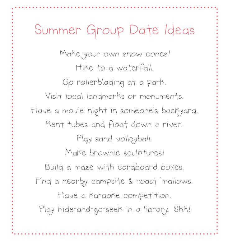 Lds creative dating ideas