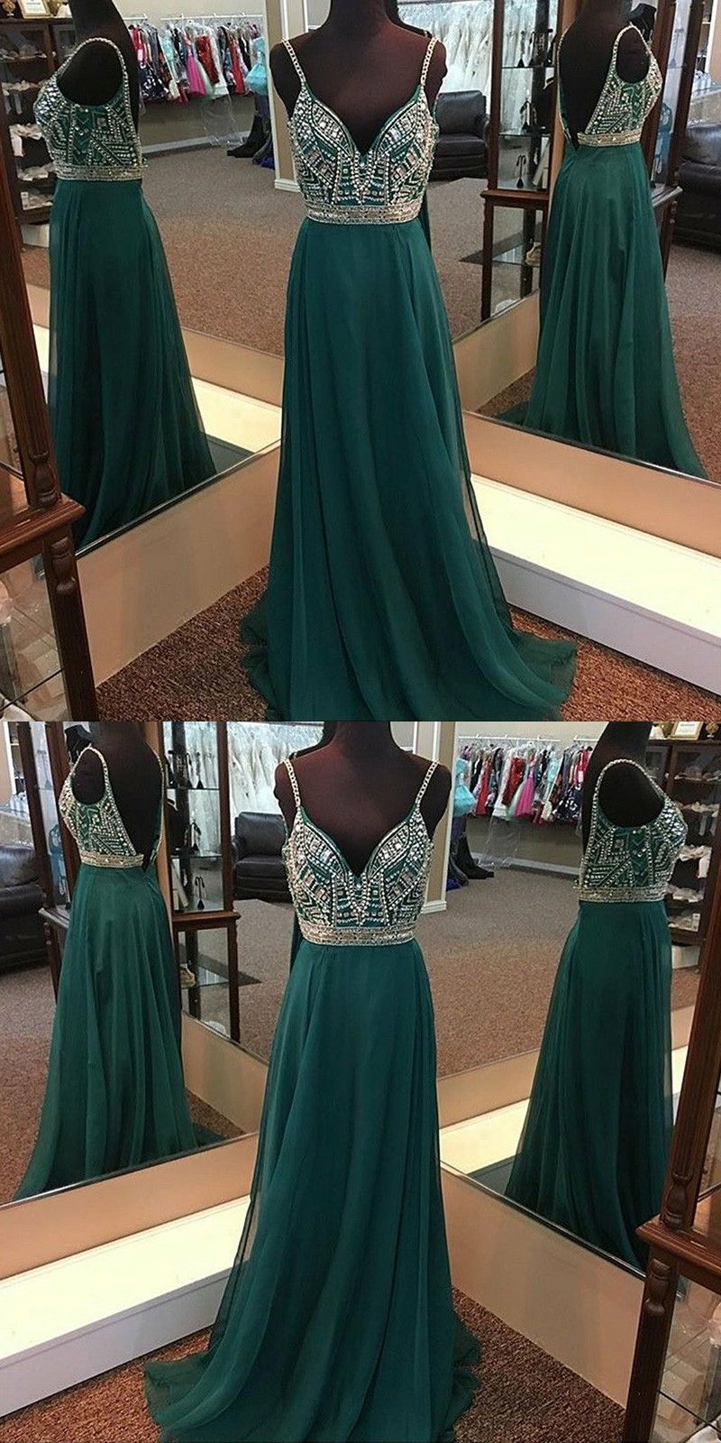 Aline spaghetti straps backless dark green chiffon prom dress with