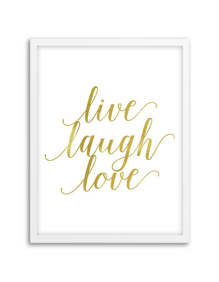 Live Laugh Love Wall Art Gold  Love Wall Art, Printable -5857