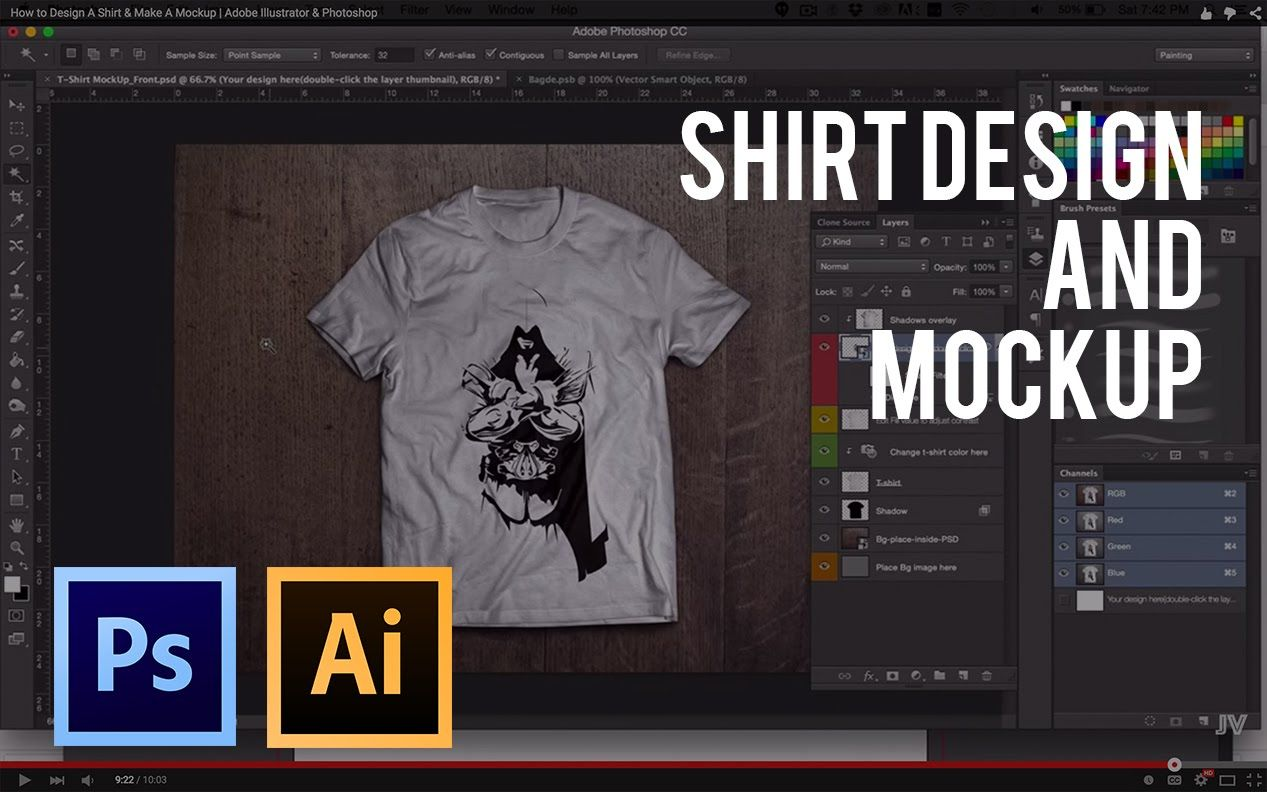 6dabeac18 How to Design A Shirt & Make A Mockup | Adobe Illustrator & Photoshop