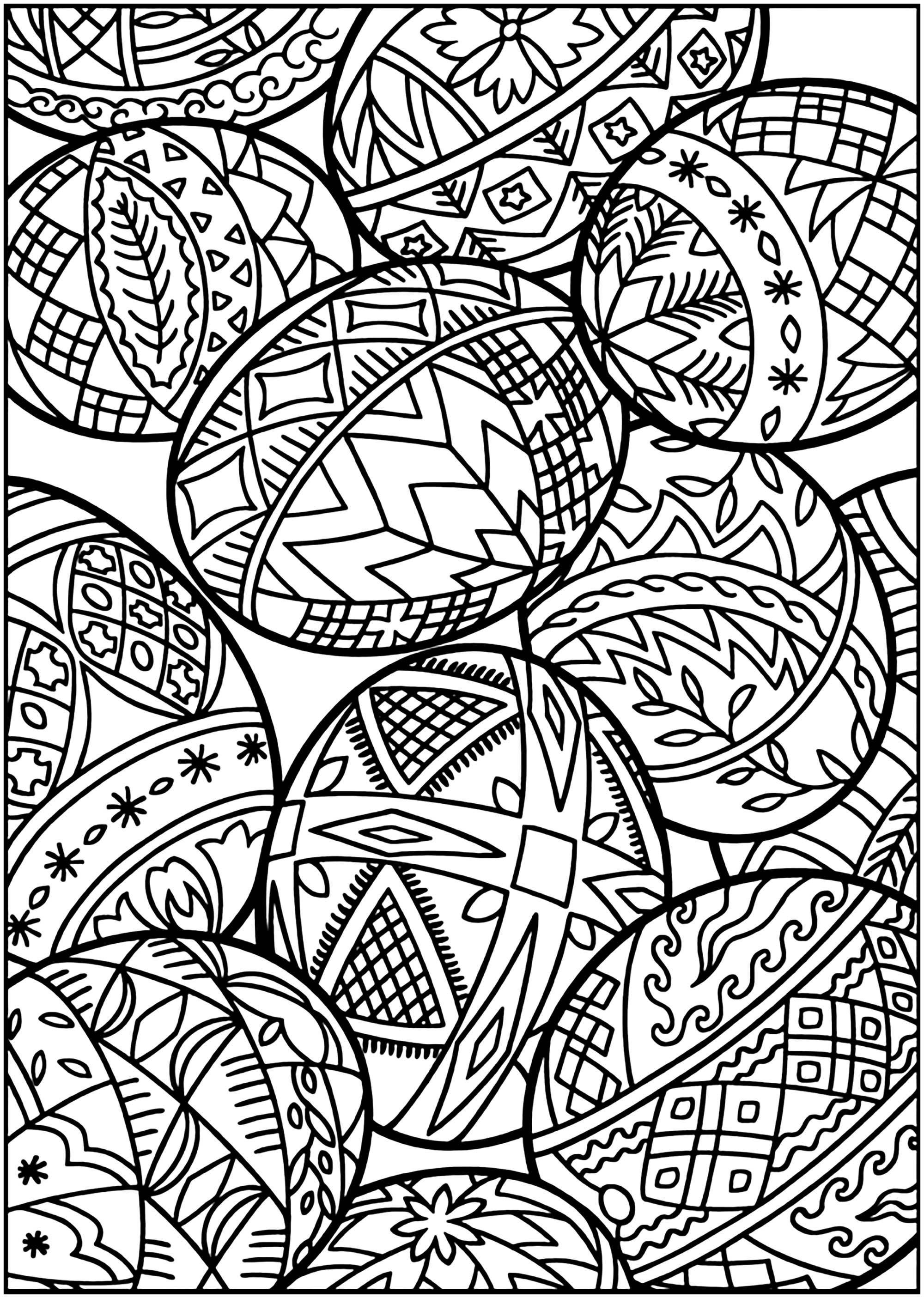 Easter Eggs With Various Patterns Easter Coloring Pages For