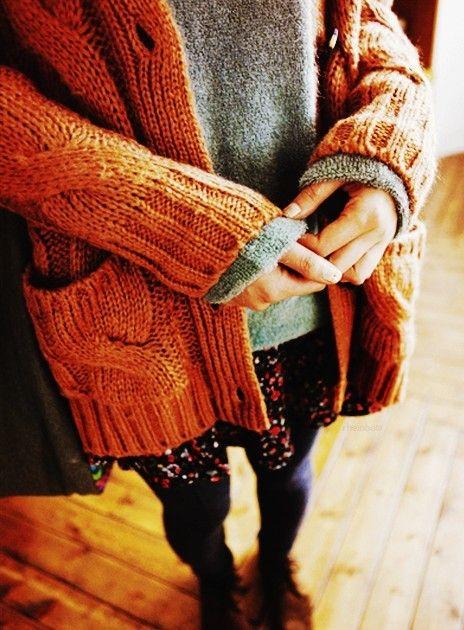 reddish orange oversized cable knit cardigan, fashion pockets ...
