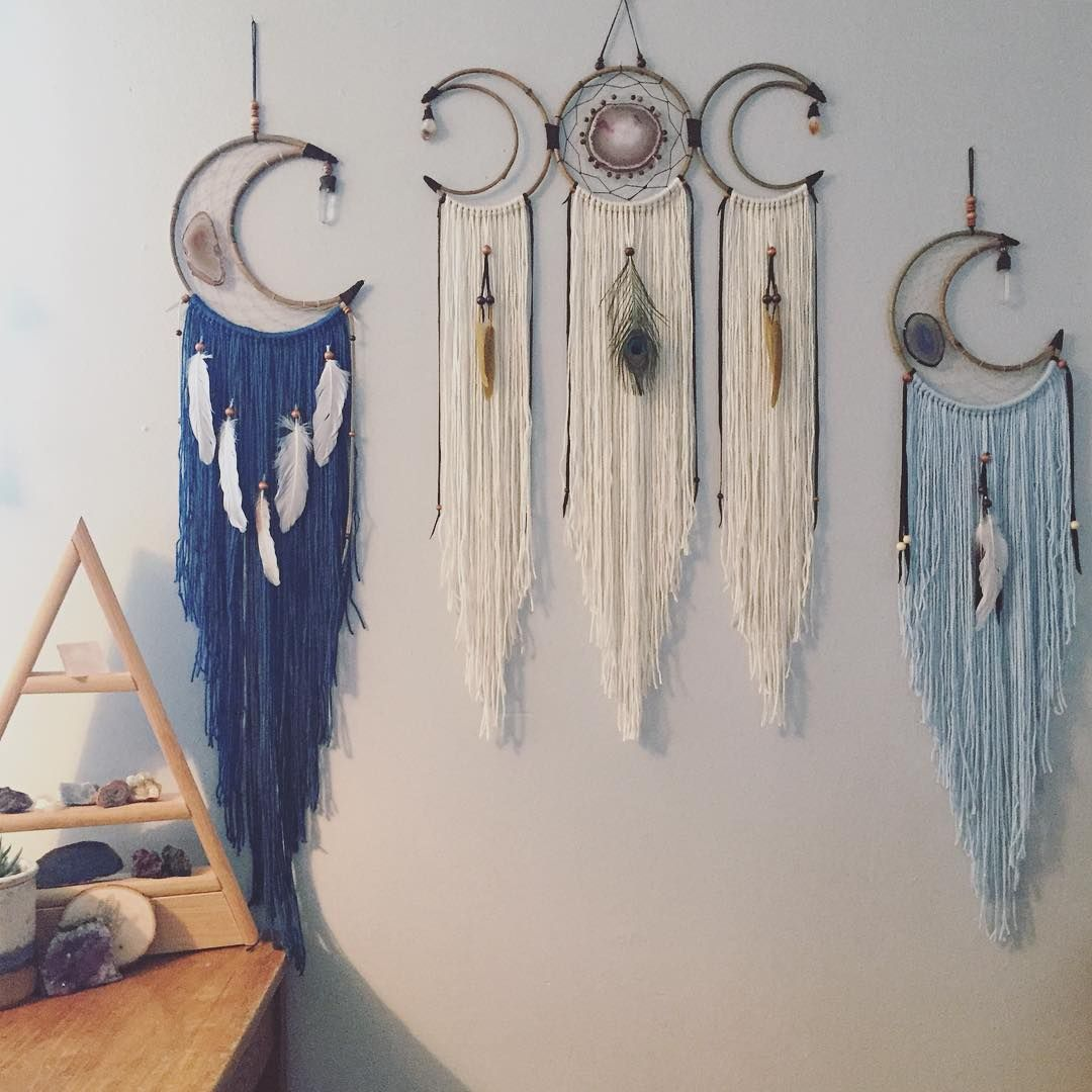 """-->>Dream Soul Tribe<<-- Listing these Moons in left to right 1 2 3 order. Please DIRECT MESSAGE me with your email address and zip code to claim, first email address and zip code gets it. But I am taking back ups as well.  Invoice must be paid when sent or I must go on to the back up.  1. La Luna 10"""" moon 42"""" long, golden/white agate, Quartz crystal, bamboo, frame, leather, beads, yarn fringe and feathers. --$65.00 SOLD 2. Triple Moon 20"""" across, 7"""" tall total length with fringe is 34"""". Pink..."""