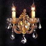lampara de pared, bronce  con cristales