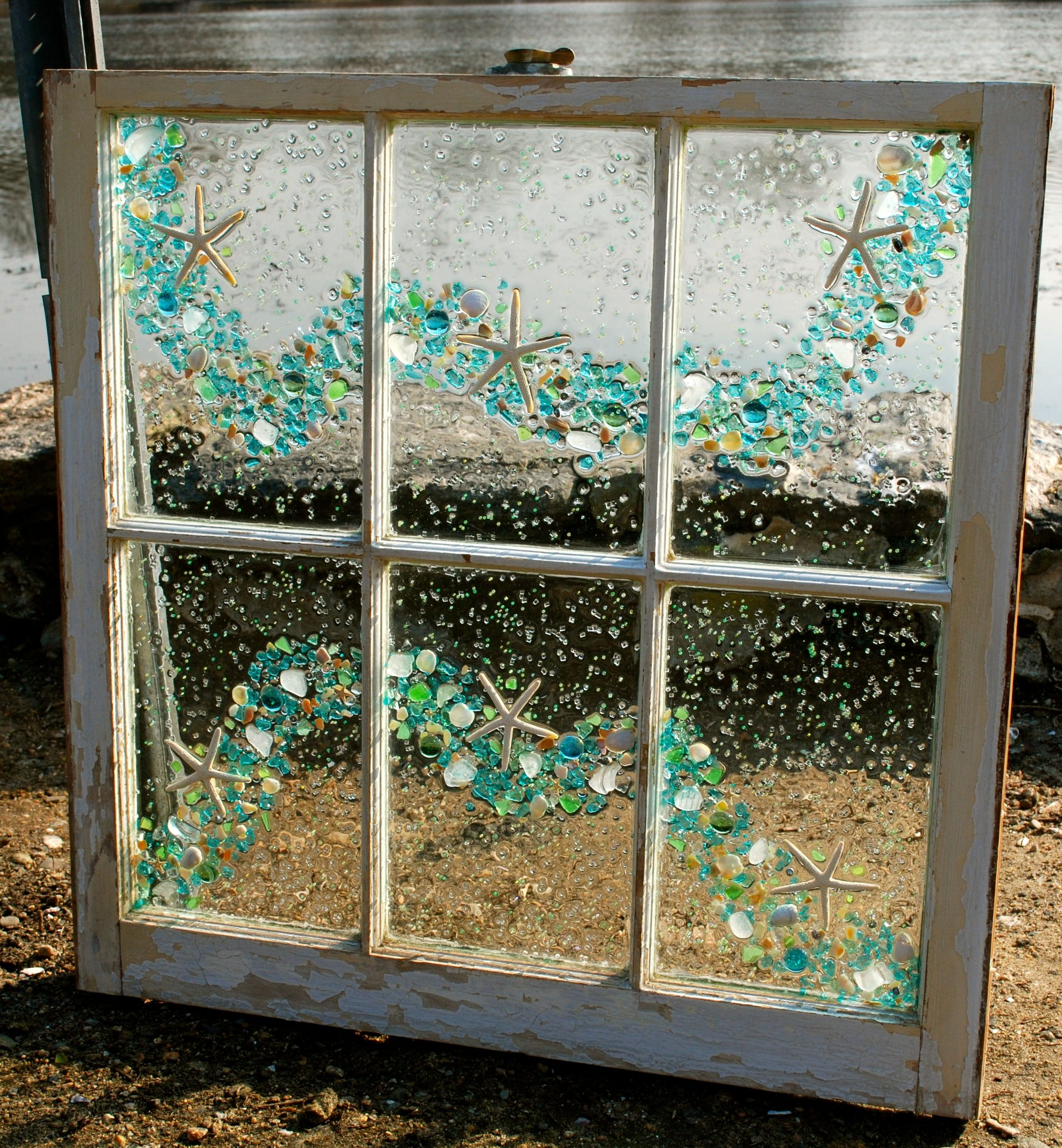 Distressed 6 pane window using white sea glass. Can be found on New ...