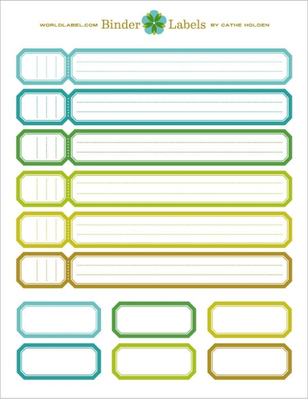 binder label template