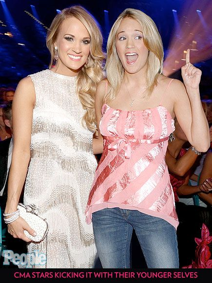 CMA Stars Kicking It with Their Younger Selves. This is so weird!!