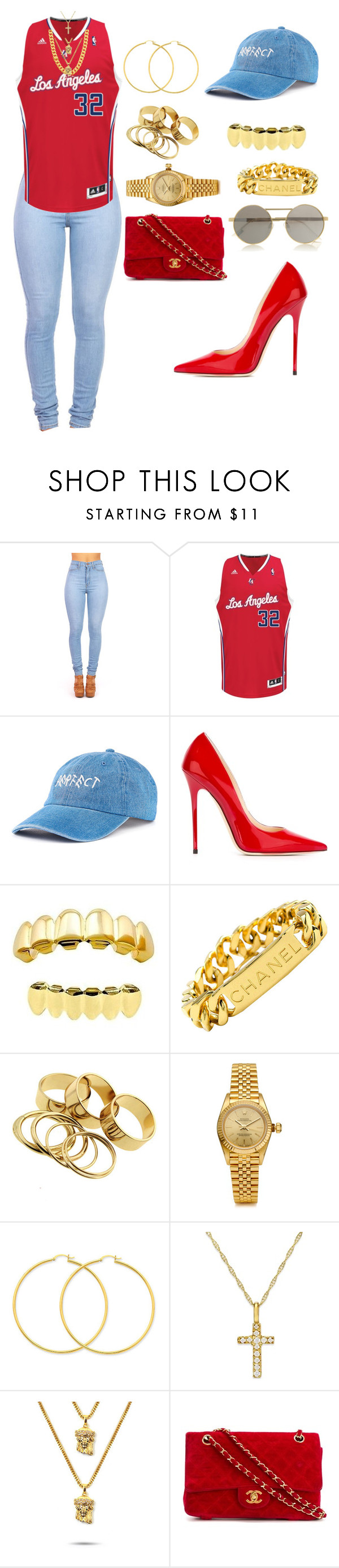 """Untitled #1095"" by mollface ❤ liked on Polyvore featuring adidas, Jimmy Choo, Chanel, Rolex, The Gold Gods and Le Specs"