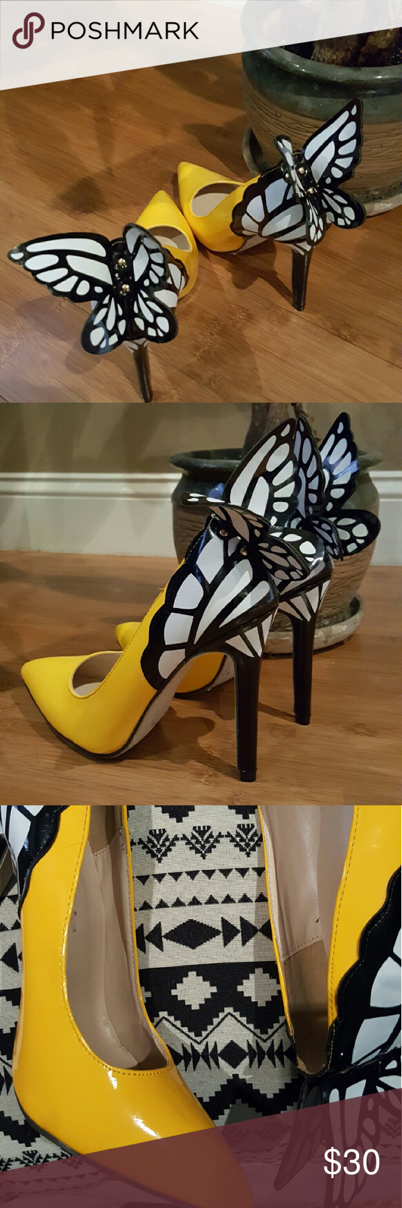 Butterfly Dreamers Yellow Pumps Pointed yellow pumps with butterfly laser cut design trim fit sizes 6.5 Shoes Heels