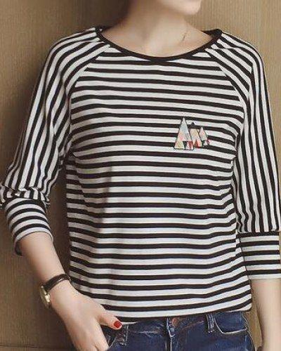07e868aae8ba83 Black and white striped t shirt for women three quarter sleeve tops ...