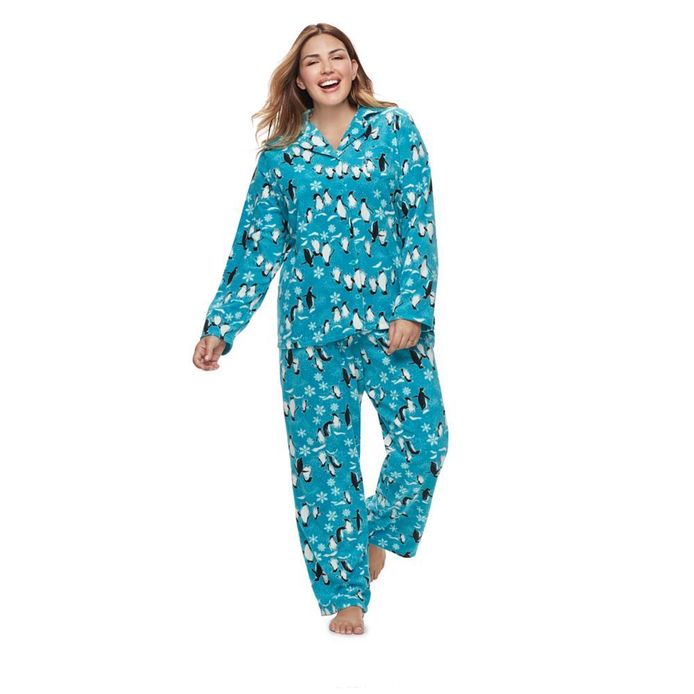 Plus Size Women s Plus Jammies For Your Families Penguin Pattern  Button-Front Top   Bottoms Pajama Set 6eaf2d9a4