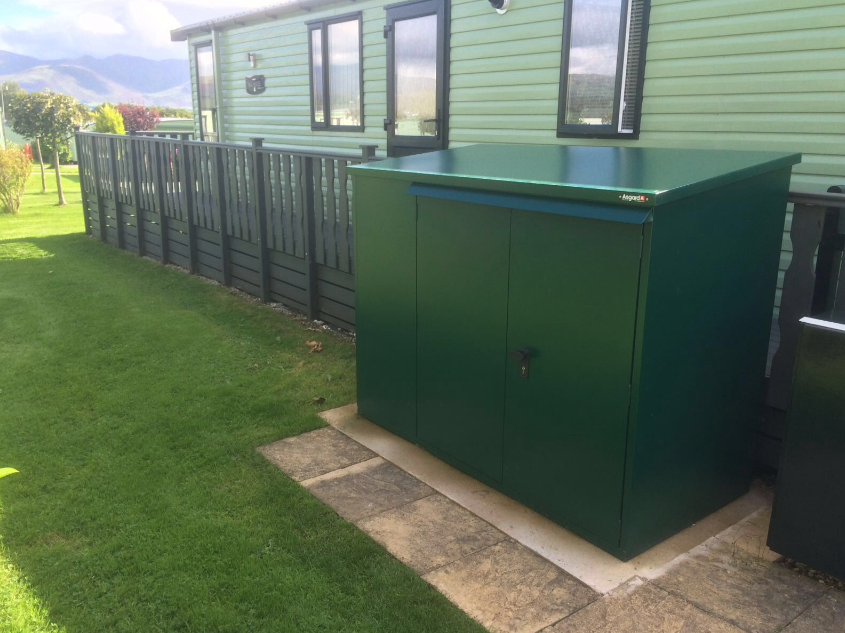 One Of Our Cycle Sheds Outside A Static Caravan Asgard Staticcaravan Shed