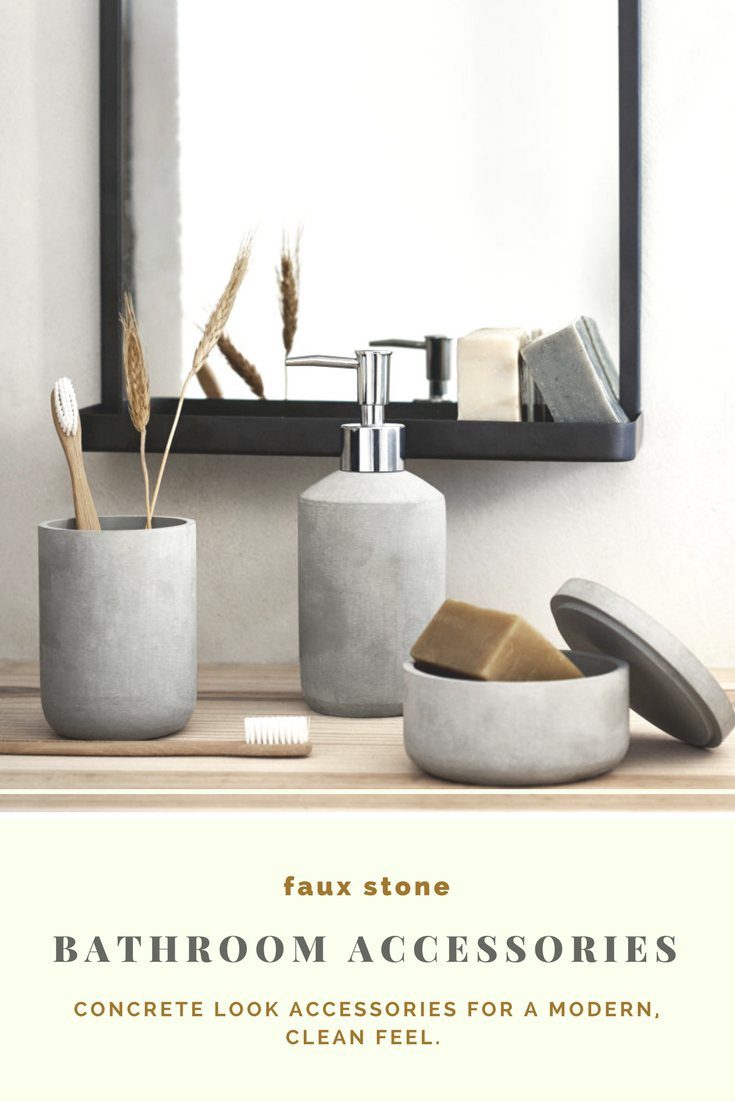 Concrete look faux stone box and bathroom accessories. #modern ...