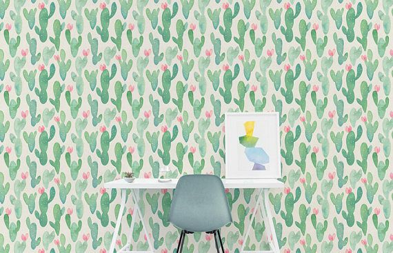 Self Adhesive Removable Wallpaper Cactus L And Stick Fabric Custom Design Wall Mural Opuntia A318