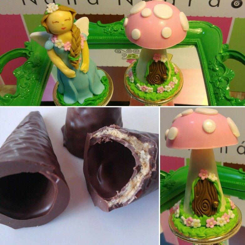 Cones revestidos de chocolate modelados com pasta americana by @nana_negrao