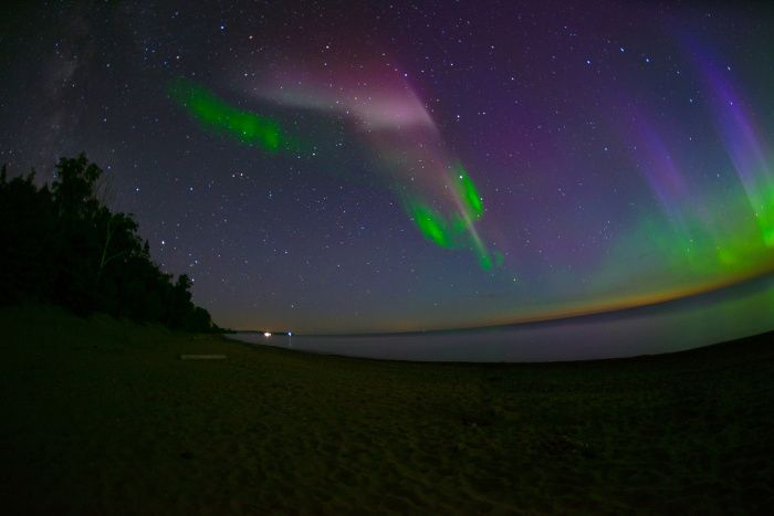 Milky Way, A Proton Arc, and the Northern Lights