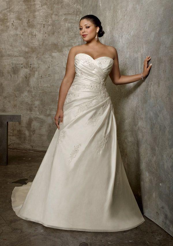 Gorgeous Plus Size Luxe Taffeta Wedding Dress with Lace Appliques ...