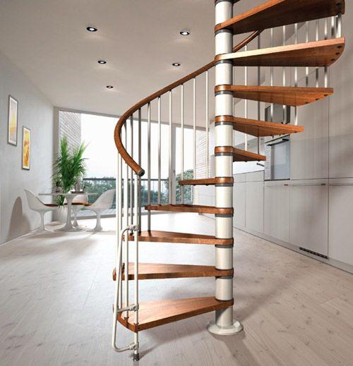 Best Nova Spiral Staircase 1400Mm Diameter In White With Dark 640 x 480