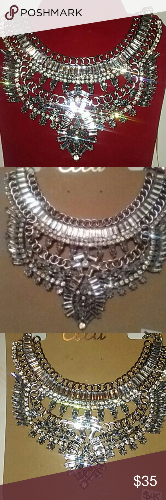 Necklace Fashionable Aztek/Bohemian style statement piece. Stunning stand alone piece or great for layering. Irresistible & one of a kind. Silver slightly rusty look with plenty bling. Jewelry Necklaces