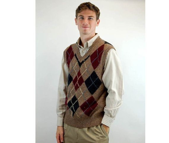 1960s vest wool vest argyle sweater vest burgundy gray brown ...