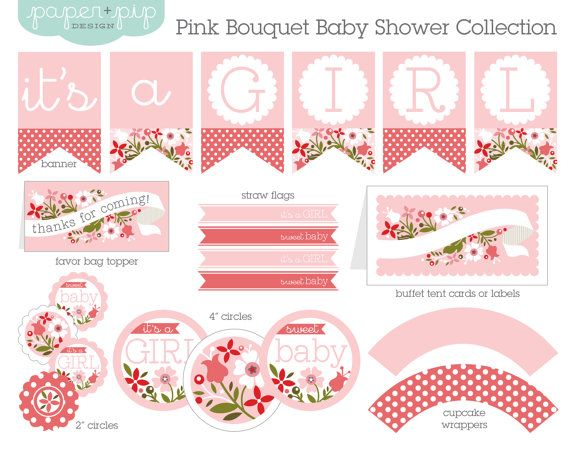 Baby Shower Decorations Printable Pink Bouquet By PaperAndPip 1500 Baby Shower Inspirations