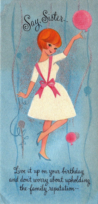 Vintage Hallmark 1960s Say Sister Birthday Greetings Card – Free Happy Birthday E Cards Hallmark