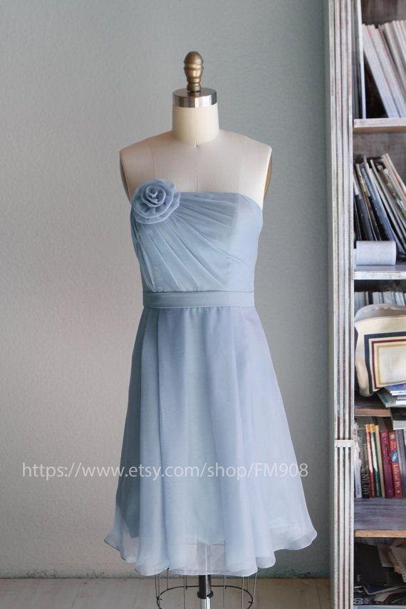 0bc8f0573f3 MINT in color Bridesmaid Dress party dress strapless dress knee length Blue  Strapless Prom  handmade flower light blue Wedding (B016) via Etsy