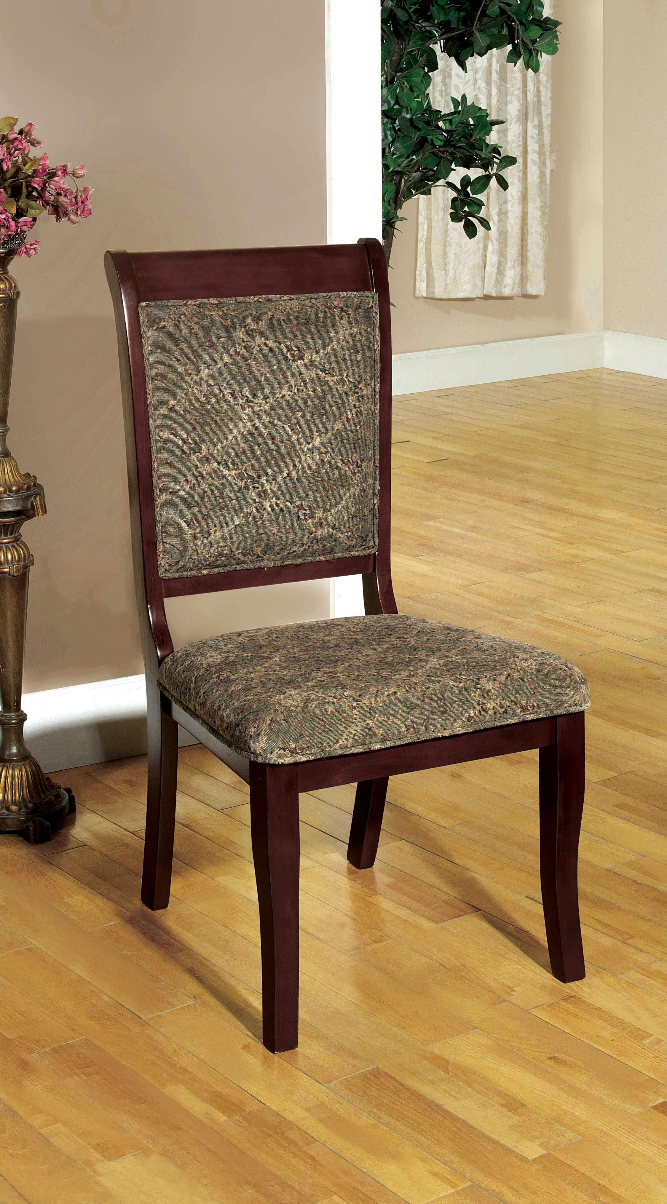 Furniture of America Curvas Antique Cherry Dining Side Chair (Set of 2), Brown