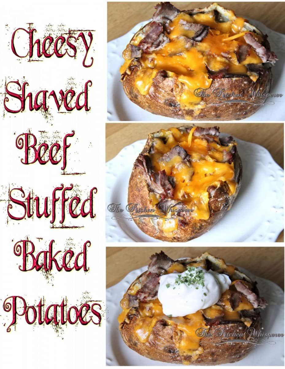 Cheesy Shaved Beef Stuffed Baked Potatoes