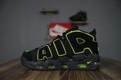 Best sell Nike More Uptempo black Fluorescence green men's/women's running  shoes 921948-301