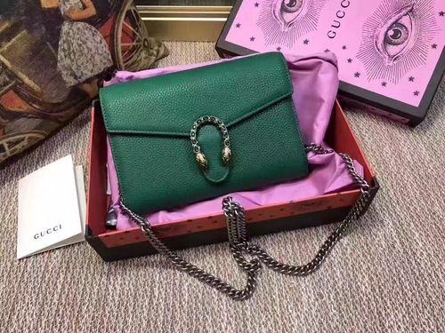 Gucci Dionysus Leather Mini Chain Bag Green Bolsos