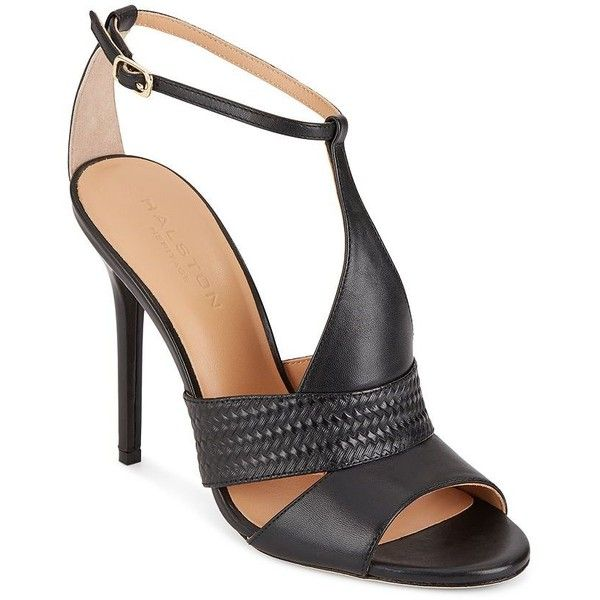 f57d094212a Halston Heritage Embossed Leather-Paneled Sandals ( 70) ❤ liked on Polyvore  featuring shoes