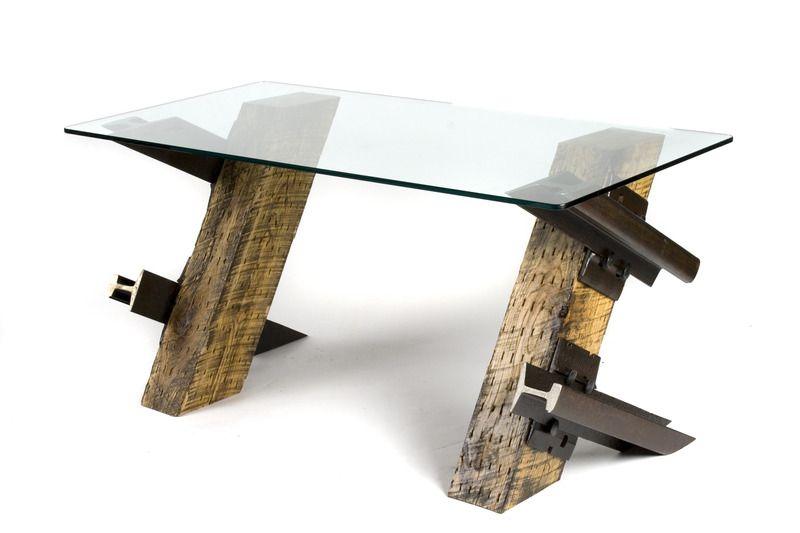 Railroad Tie Glass Top Coffee Table From Rail Yard Studios